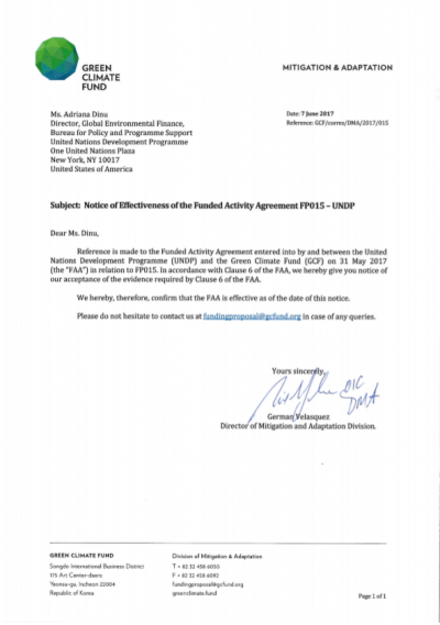 Funded Activity Agreement Notice Of Effectiveness Gcf Tuvalu